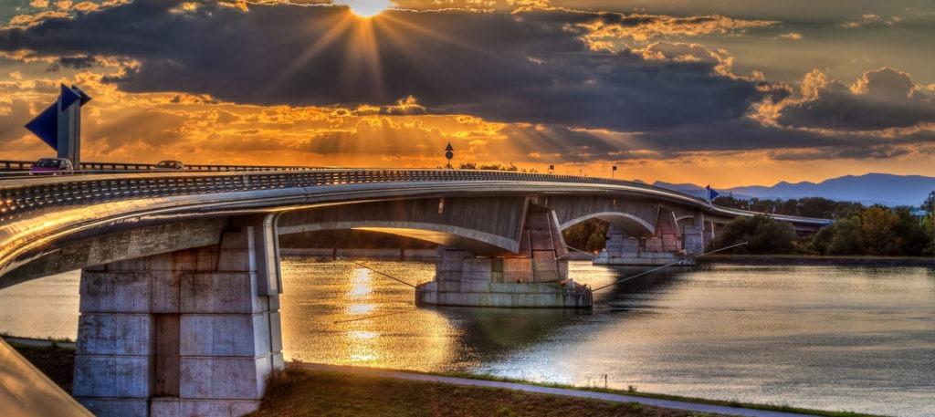 15362058 - pierre pflimlin motorway bridge over the rhine between france and germany